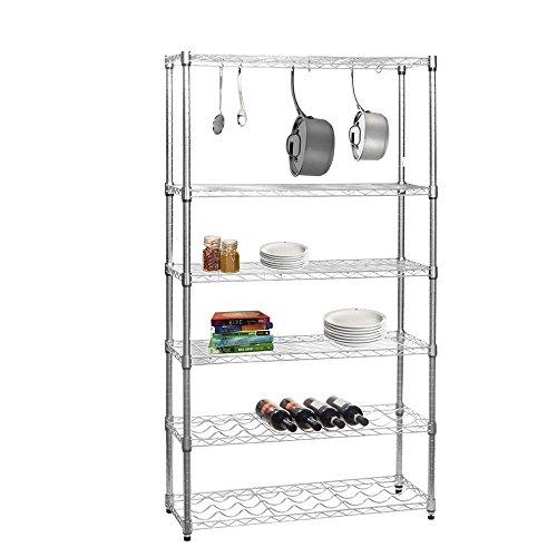 Chrome Kitchen Shelving Unit with 4 Shelves, 2 Wine Racks and 6 S Hooks