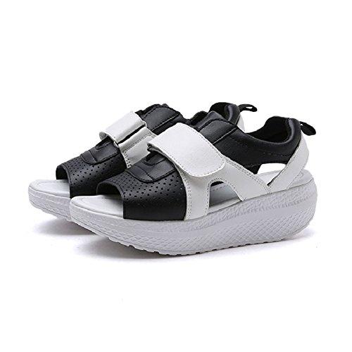 Cybling Komfort Lav Plattform Kile Sandaler For Kvinner Utendørs Trening Atle Peep Toe Sko Black
