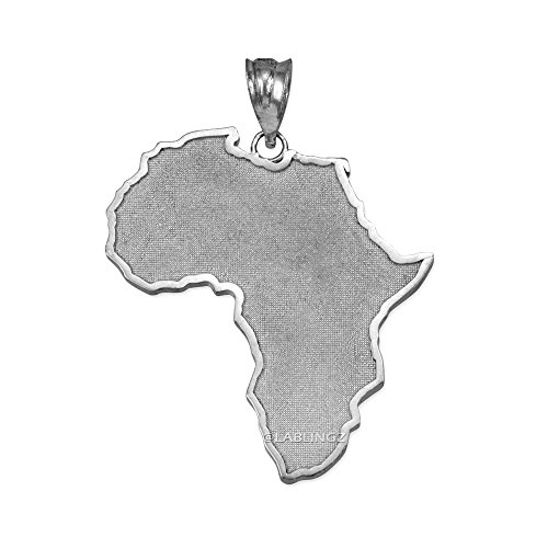 14K White Gold Africa Map Pendant by Travel & Destinations Jewelry