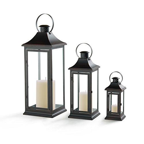"Danya B. 29"" Set of 3 Nesting Lantern Set - Brown with Copper Patina"