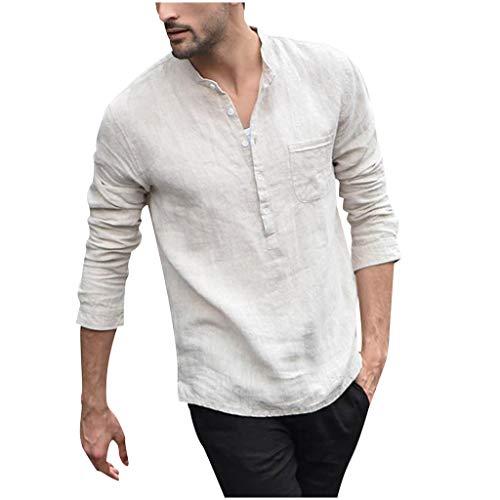 Color White vintage Tops Blouse Shirts Long Sleeved Solid Men's Button Linen Top Cotton And Outique Retro Pure iuXwOPZkTl