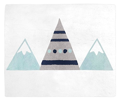 - Sweet Jojo Designs Navy Blue, Aqua and Grey Aztec Accent Floor Rug or Bath Mat for Mountains Collection