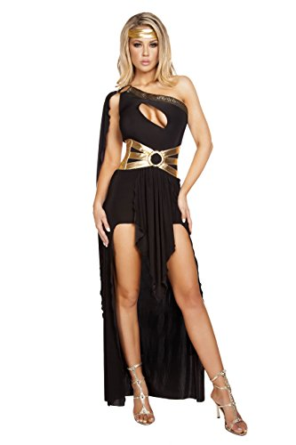 Greek Olympian Costume (3 Piece Greek Goddess Aphrodite Athena Olympian Black Gown Dress Costume)