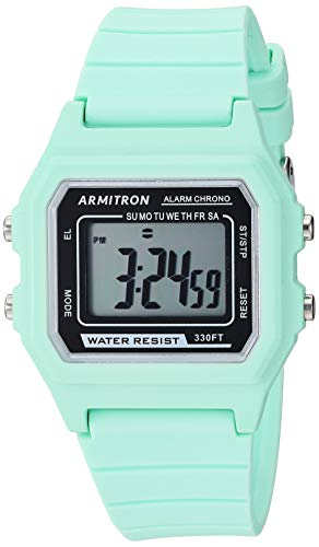 Armitron Sport Unisex Digital Mint Green Silicone Strap Watch, 40/8447LGN (Mint Watch)
