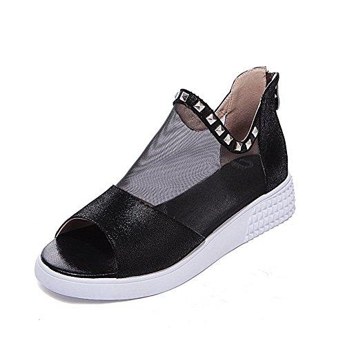 AgooLar Women's Low-heels Soft Material Solid Zipper Peep Toe Sandals Black