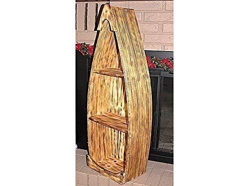Canoe Boat Shelf 3 1/2' Tall Pine Wood Bookcase (Boat Shaped Shelves Small)