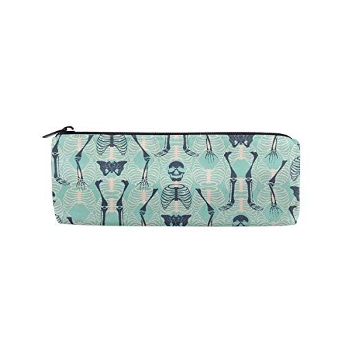 UNIQUEISME Pencil Bags Cosmetic Toiletry Makeup Bag Pouch Black Zipper Storage Bag Halloween Skull Skeleton Mint Green Portable Makeup Bag Pencil Case]()