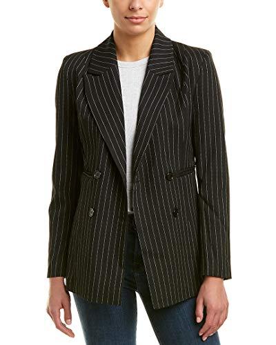 (Romeo & Juliet Couture Women's Woven Pinstripe Blazer Black/White Small)