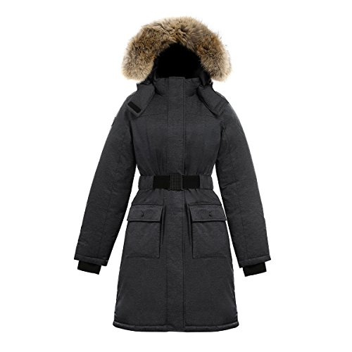 Coyote Fur Parka - Triple F.A.T. Goose SAGA Collection | Estelle Womens Hooded Goose Down Jacket Parka with Real Coyote Fur (Medium, Charcoal)