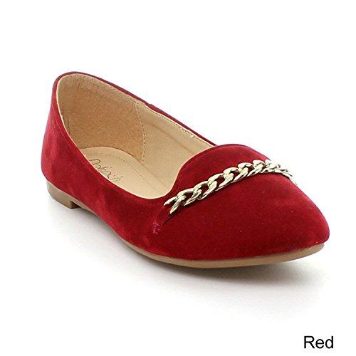 Ververs Stacy-02 Damesschakeldetail Slip Op Flats Loafer Flats Rood