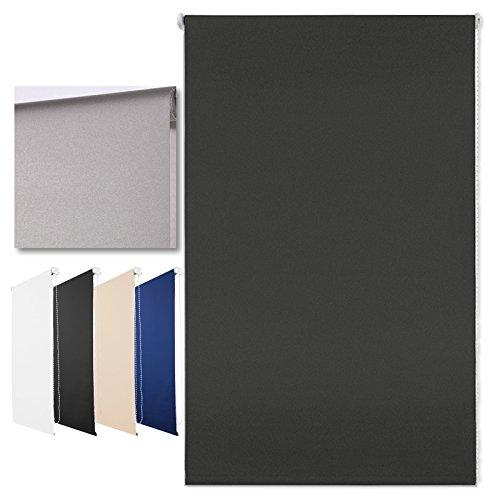 Thermo-Rollo Klemmfix ohne Bohren + Verdunkelung und Beschichtung + 90 x 210 cm Anthrazit + weitere Farben und Größen verfügbar