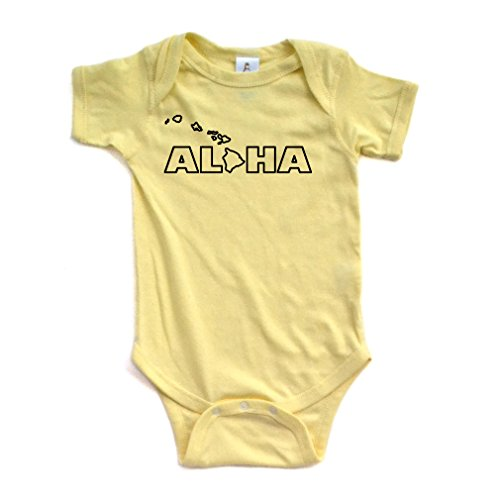 Apericots Aloha Hawaii Hawaiian Cute Baby Handmade Quality Fun Unisex Bodysuit (6 Months, Yellow)