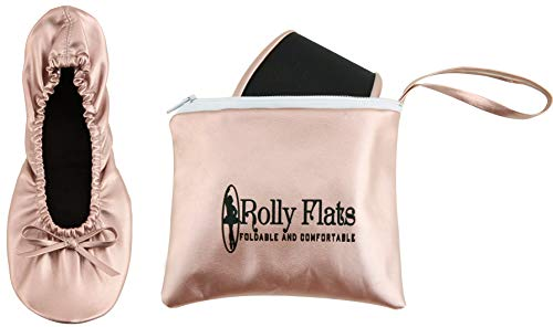 Rolly Flats Portable Foldable Pumps Ballet Shoes (M, Rose Gold)