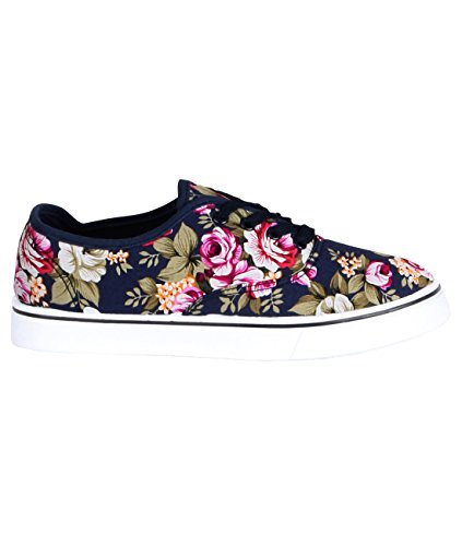 Women's Flat Canvas Sneakers Floral Comfortable Shoes Blue Casual - 5