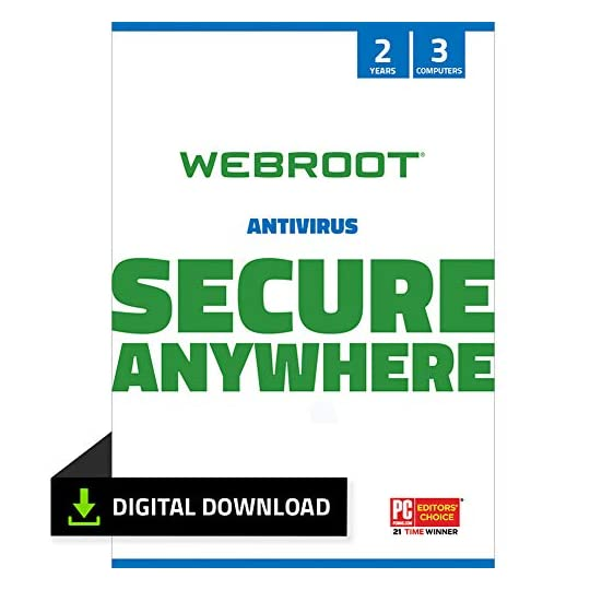 Webroot Antivirus Protection and Internet Security Software 2021 – 2 Year 3 Device Antivirus Subscription (PC Download)