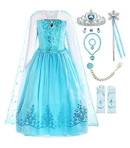 ReliBeauty Girls Sequin Princess Elsa Costume Long Sleeve Dress up, Light Blue(with Accessories), 5(130) -