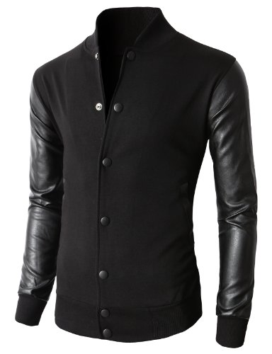 H2H Mens Autumn Casual Bomber Jacket Coat Cotton Outerwear Black US 2XL/Asia 3XL (KMOJA0132)