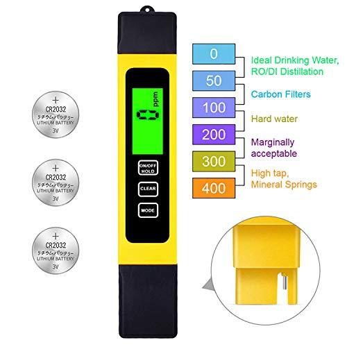 TDS Meter Digital Water Test Meter, TDS Temperature & Conductivity Meter 3 in 1, 0-9999 ppm, Hydroponics EC Meter, Digital Water Quality Testers for Drinking Water, ppm Meter for Hydroponics Aquarium (Hanna Hardness Test Kit)