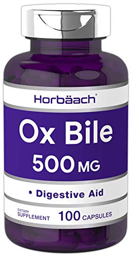 Horbaach Ox Bile 500 mg 100 Capsules | Non-GMO & Gluten Free | Digestive Enzymes Supplement, Purified Bile Salts for Gallbladder