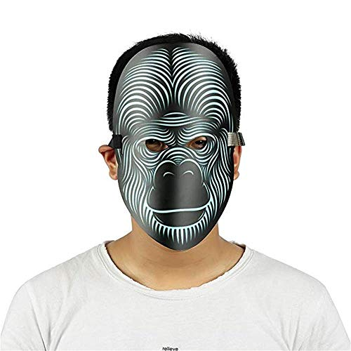 LiPing Party Version Sound Reactive LED Mask Dance Rave Light Up Adjustable Halloween Face Mask for Men Women Party Christmas Halloween Costume Mask (C)