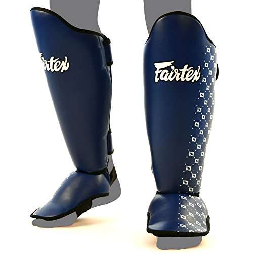 Fairtex SP5 Shin Guards Competition Thai Boxing Shin Pads Guards Muay Thai Kick Boxing MMA Protective (Blue, Large)