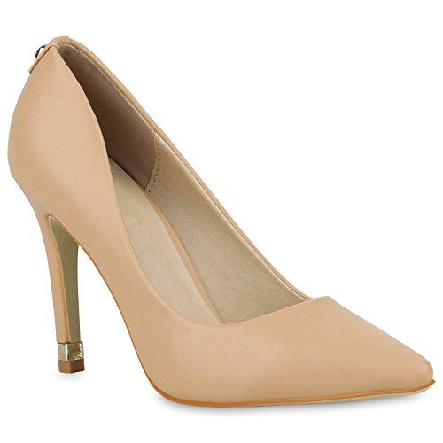 Stiefelparadies Elegante Spitze Pumps Damen High Heels Lack Stilettos Animal Print Flandell Creme