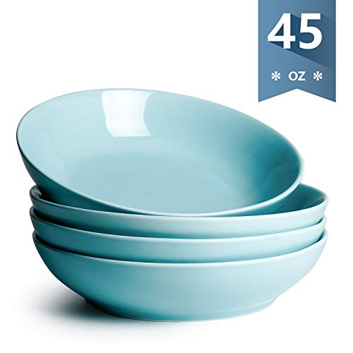 Sweese 113.102 Porcelain Large Salad Pasta Bowls - 45 Ounce 1.3 Quart - Set of 4, Turquoise (Bowl Ceramic Turquoise)