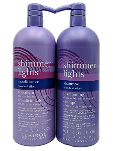 Clairol Shimmer Lights Shampoo & Conditioner 31.5 oz Duo (Blonde & - Lights Silver Shampoo