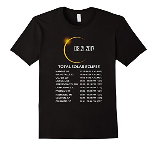 Mens Total Solar Eclipse 2017 T Shirt  Time   Place Where To See Xl Black