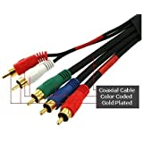 25 ft Component Video Audio Cable 5-RCA HDTV Gold 25ft