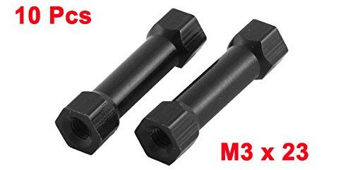 10pcs M3 x 23 6mm Female Thread Black Hexagonal Aluminum Column