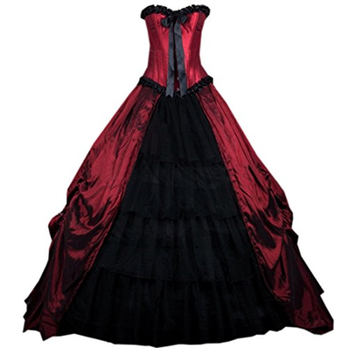 Cheap Victorian Dress (Partiss Womens Red Gothic Corset Long Prom Ball Gowns Victorian Dress,XS,Red)