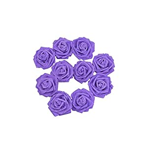 Artificial Flower 10Pcs 10Cm Foam Rose Artificial Flowers for Wedding Bouquet Decoration Scrapbooking Craft Flowers,Purple 25