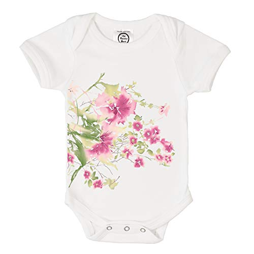 The Spunky Stork Pink & Green Wildflowers Organic Cotton Baby Bodysuit (0-3M)