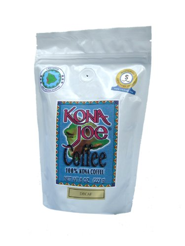 Kona Joe Coffee Decaf Medium Roast, Whole Bean, 8-Ounce Bag