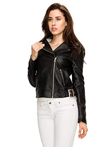 Lock and Love LL MBJ WJC1902 Women's Faux Leather Moto Biker Short Coat Jacket S Black