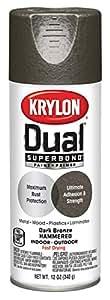 Krylon K08844000 'Dual' Superbond Paint and Primer Hammered Finish, Dark Bronze, 12 Ounce