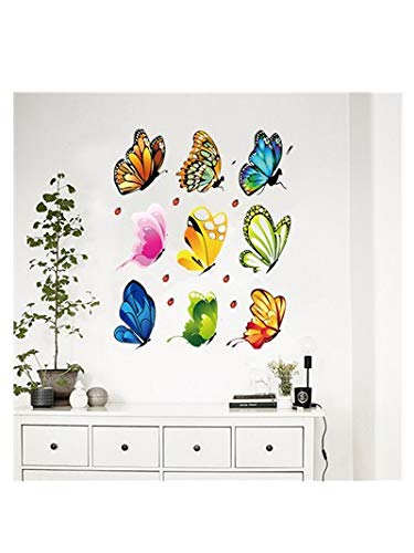 3D Butterfly Sticker Wall,Removable Dancing Butterflies Mural,Colorful Butterfly Wall Stickers DIY Art Decor for Kids Babys Girls Room Bedroom Offices Bathroom Living Room Classroom (6.298.26in, -