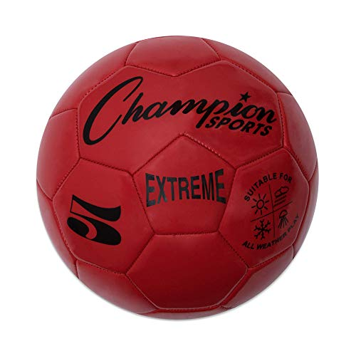 Extreme Series Soccer Ball, Regulation Size 5 - Collegiate, Professional, and League Standard Kick Balls - All Weather, Soft Touch, Maximum Air Retention - For Adults, Teenagers, Red