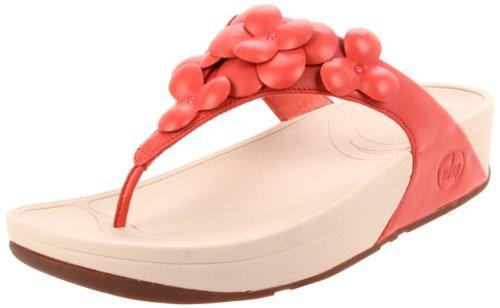 Fitflop Fleur - sandalias de dedo de cuero mujer rojo - Mineral Red