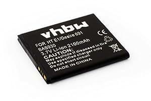 Batería vhbw Li-Ion 2100mAh (3.7V) para móviles HTC Desire 700, 700 dual sim, 7060, 7088, 709d sustituye 35H00213-00M, BA S930, BM65100.