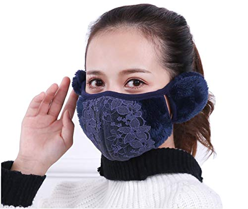 Fashion Women Girls Winter Warm Cloth Face Mouth Mask Adult Thicken Anti Dust Anti-fog Windproof Earmuff Mouth-muffle Safety Particle Respirator Protection (Dark blue)