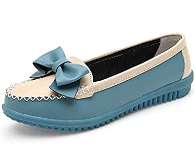 zaragfushfd Leather Loafers Moccasins Wild Driving Casual Flats Oxfords Breathable Shoes(Blue 35/4 B(M) US Women)