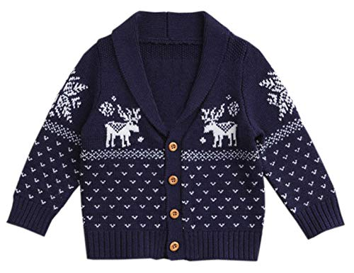 Snowflake Cardigan Baby (Unisex Kids Baby Toddlers & Little Boys Girls Reindeer Snowflake Christmas Button Down Hooded Knit Cardigan Sweater Jacket Coat, Navy)