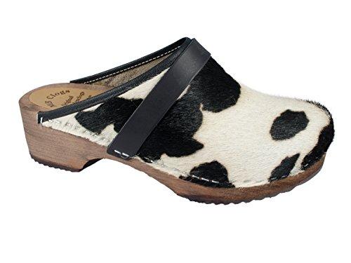 Cow Fur Clogs White Black