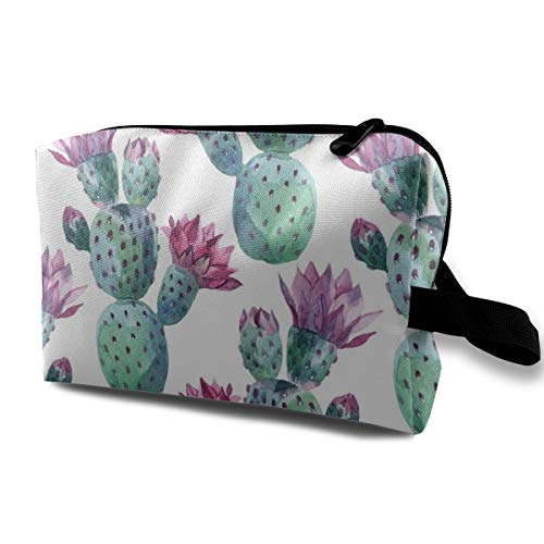 Wilder California Prickly Pear Cactus Floral Makeup Case Women Travel Makeup Train Case Pouch - Multifunction Clutch Bag Pen Bag Holder, Carrying Case for Cosmetics Jewelry Eyeliner, Trip, Coin