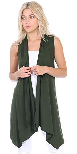 Popana Women's Casual Sleeveless Long Duster Cardigan Vest Plus Size Made in USA Medium Olive