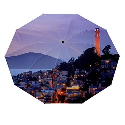 10 ribs multi-function automatic on/off - sun protection - rainproof - windproof umbrella, theme - Coit Tower on Telegraph Hill with San Francisco Bay and Angel Island in the background at