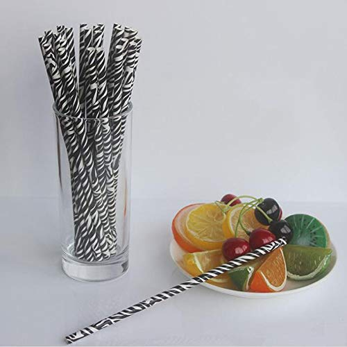 (Disposable Party Tableware - Leopard Zebra Printed Paper Straws Birthday Wedding Party Decoration Safari Theme Drinking Za6763 - Wallpaper Tablecloth Pen Gold Safari Balloon Print Marker Cupcake)