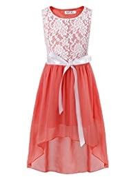 YiZYiF Big Girls Lace Chiffon High Low Dress Dance Ball Party with Satin Belt Dress
